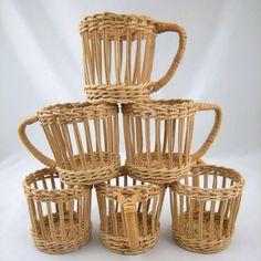 Set of 6 Vintage Wicker Cup Holders ❤ liked on Polyvore featuring home, kitchen & dining and kitchen gadgets & tools