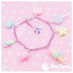 ~ Candy mix Bracelet ~ Bracelet cm + 3 cm (extend chain) We've made our best to portray the colors of jewelry as accurately as possible, however colors will vary with individual monitors and subject to individual opinion. Kawaii Jewelry, Kawaii Accessories, Cute Jewelry, Jewelry Bracelets, Necklaces, Jewellery, Pastel Fashion, Kawaii Fashion, Pulseras Kandi