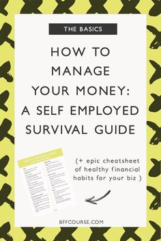 How to Manage Your Money: A Self Employed Survival Guide - Business Management - Ideas of Business Management - Bookkeeping Accounting Recordkeeping Small Business Creative Entrepreneur via course Small Biz Finance Money Love Business School, Business Tips, Online Business, Creative Business, Business Marketing, Business Education, Craft Business, Family Business, Media Marketing