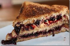 Grilled cashew butter and blueberry sandwich (but with one level of bread!!).