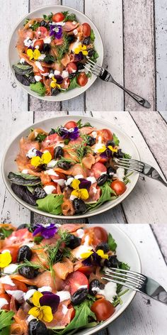 Smoked salmon salad with cherry tomatoes, dried black olives and edible flowers