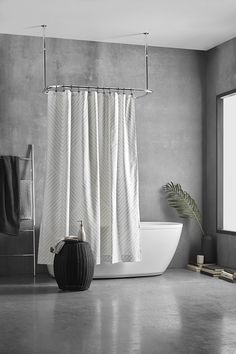 Injecting a modern touch into your bathroom is simple when you've got stylish decor like this easy-care shower curtain in the mix. Machine wash and dryable, it's an excellent choice for humid areas like your bathroom. Style your decor with matching towels and accessories to draw on this on-trend colour palette. Bathroom Collections, Color Trends, Towels, Palette, Draw, Curtains, Touch, Colour, Stylish