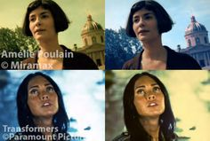 Amelie, color graded in orange and blue like Transformers (top), and Transformers, color graded in green and gold like Amelie (b