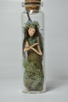 Fairy Woodland Spirit - made from paper clay, fabric and natural materials