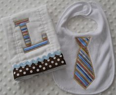 Set of ONE Appliqued Neck Tie BiB and ONE Personalized BuRP CLoTH embroidered with baby boy's Initial