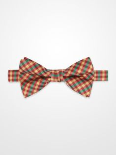 Lord West Green, Red & Gold Bow Tie #menswear #mens #dapper #fashion #formalwear #tuxedo #wedding #prom #party #suit #suitandtie #plaid #check #holiday #pattern