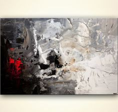 White Black Red Abstract Painting 60 Acrylic by OsnatFineArt