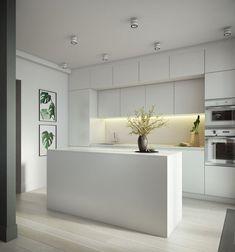 Ozernaya Apartment in Moscow / Buro 108 Kitchen Room Design, Kitchen Cabinet Colors, Modern Kitchen Design, Kitchen Layout, Home Decor Kitchen, Interior Design Kitchen, Kitchen Ideas, Interior Livingroom, Farmhouse Style Kitchen