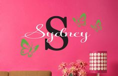 Childrens Decor -Teen Name Decals - Childrens Wall Decals - Butterflies Vinyl Wall Decal with Name on Etsy, $20.00