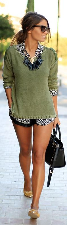 Olive sweater + black statement necklace