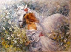 Купить Картина из шерсти Девушка с белой лошадью - картина для интерьера, картина из шерсти, живопись шерстью