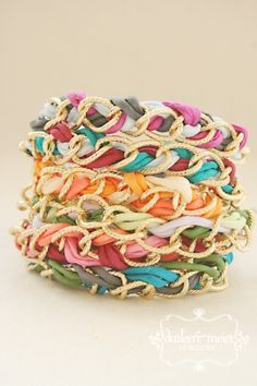 FRIENDSHIP bracelet with chunky gold curb chain and silk cord by chenbeg