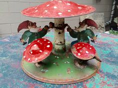 Wonderful old tree stand with gnomes and mushrooms  Tin   11.5D x 7.5H  Free Shipping