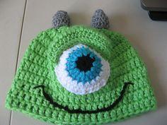 Crochet Green One Eye Monster Hat - Video One, via YouTube.