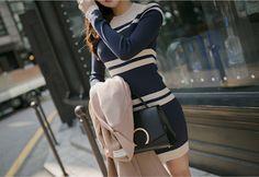 Try a mini dress like my Striped Short Knit Dress