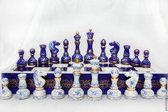 Купить Шахматы ручной работы Кобальт - тёмно-синий, кобальт, классический стиль, настольные игры