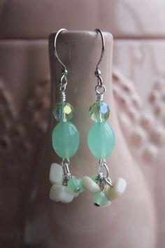 Drop Earrings Cluster Earrings Sea Foam Green by HHRusticJewels