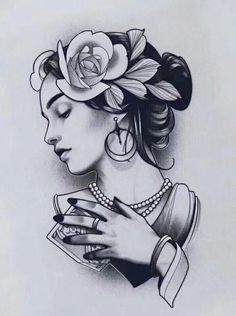 Girl Face Tattoo, Girl Face Drawing, Family Tattoo Designs, Family Tattoos, Neo Traditional, Traditional Tattoo, Mujeres Tattoo, Tattoo Sketches, Woman Face