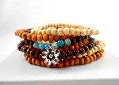Wood Bead Bracelet Dark Wooden Bead Bracelet by ThePaperPoppyShop