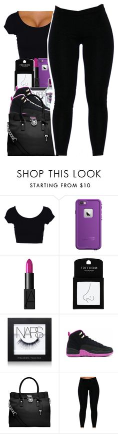 """""""Shy Glizzy X Let It Rain"""" by uniquee-beauty ❤ liked on Polyvore featuring LifeProof, NARS Cosmetics, Topshop and MICHAEL Michael Kors"""