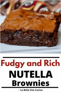Fudgey Rich Nutella Brownies | La Bella Vita Cucina #nutella #brownies #chocolate #desserts #bars #fudge #fudgy Nutella Brownies, Best Brownies, Brownie Recipes, Dessert Recipes, Fun Desserts, Best Italian Recipes, Favorite Recipes, Glass Baking Pan, Other Recipes