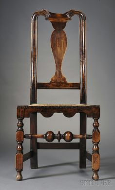 Skinner | Queen Anne Carved Maple Side Chair, probably Boston, c. 1720-40 | Queen Anne Carved Maple Side Chair, probably Boston, c. 1720-40, with spooned scroll-carved cresting, valanced seat frame on block-, vase-, and ring-turned legs joined by a bulbous turned front stretcher and square side stretchers, refinished, (minor imperfections), ht. 41 3/4, seat ht. 17 in.