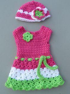 American Girl Crotchet Dress with matching hat! Nádhera