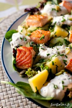 Food for Love Steak And Shrimp, Chicken Steak, Chicken Bacon, Salmon Salad, Potato Salad, Entrees, Good Food, Food And Drink, Veggies
