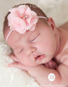 Pink Baby Headband, Baby Headbands, Baby girl Headband, Newborn Headband, Flower Headband, Small Bow Headband, Easter Headband, Baby Hair Bows. $3.95