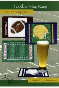 Football Mug Rugs in the hoop on your embroidery machine!