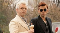 """Upwards of Christians have signed a petition calling for Netflix to cancel the fantasy series """"Good Omens."""" But the TV series, adapted from Terry Pratchett and Neil Gaiman's 1990 satirical s… Michael Sheen, Neil Gaiman, David Tennant, Best Amazon Prime Series, Apocalypse, Gq, Amazon Shows, Alexa Davalos, Netflix"""