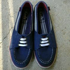 Comfy Keds Blue Keds with white and red detail. Slip on so you don't have to tie the laces! They have a really cushiony sole so they're extra comfy! Only worn a few times so they're in great condition minus being a little dirty on the sides :) True size 6 keds Shoes Flats & Loafers