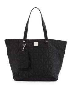 V31MP Nicole Miller City Life Quilted Tote Bag, Black