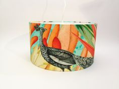 #lampshades #textiledesign #print #peacock #tiki #homedecor