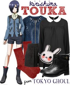 Tokyo Ghoul Fashion » Kirishima Touka // My favorite item in this set is the red socks—they add an interesting pop to her tomboyish outfit.