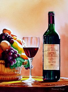 wine bottle paintings | fruit and wine
