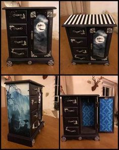 - trendige Ideen Jewerly Box Makeover DIY bemalte Möbel – trendige Ideen Jewerly Box Make - Painted Drawers, Painted Boxes, Gothic Furniture, Painted Furniture, Furniture Makeover, Diy Furniture, Jewerly Box Diy, Jewelry Box Makeover, Painted Jewelry Boxes