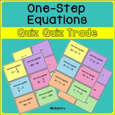 One Step Equations Quiz Quiz Trade Game Fractions Decimals And Percentages, One Step Equations, 12th Maths, Cooperative Learning, Student Reading, How To Get Rich, Teacher Newsletter, Task Cards, Math Activities