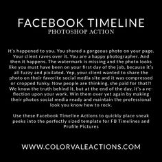 Photoshop Actions For Photographers, Free Advertising, Facebook Timeline Covers, Photography Lessons, Photo Link, Photoshop Tutorial, Photography Business, Improve Yourself, Photo Editing