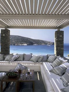Coastal outdoor space covered with simple matching decor and patterns