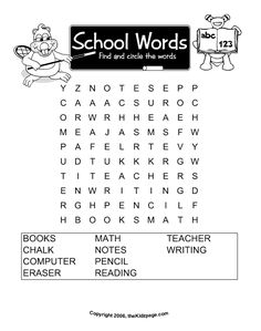 School Words Word Search - Free Printable Learning Activities for Kids - Printable Colouring Sheets
