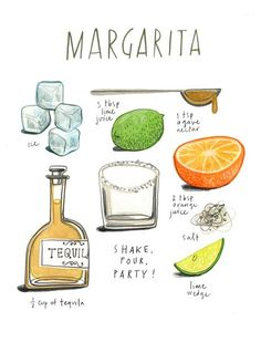 felicita sala illustration How ti make a Margarita Yummy Drinks, Yummy Food, Recipe Drawing, Orange Party, Alcohol Drink Recipes, Drink Specials, In Vino Veritas, Food Journal, Food Drawing