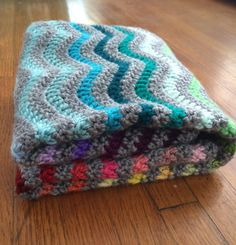 Crochet rainbow chevron baby blanket stroller by BerniceMatisse