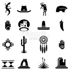 Southwest Icons Set Royalty Free Stock Vector Art Illustration