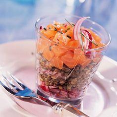 Salade de lentilles vertes au saumon fumé, facile