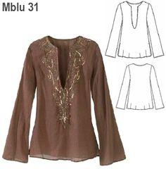 Blouse Patterns, Clothing Patterns, Blouse Designs, Fashion Sewing, Boho Fashion, Womens Fashion, Sewing Blouses, Fashion Sketches, Dress Making