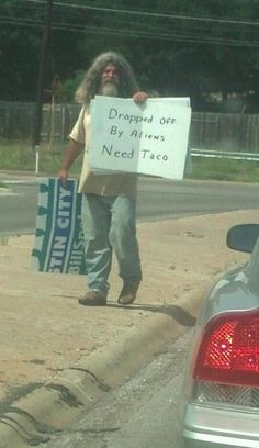 Ha ha ha! I give him points for creativity!!! @Liz B - too bad we didn't see  him that day on the way to the race!
