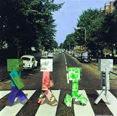Best Picture Ever! I love the beatles amd minecraft! Minecraft + Beatles = That ———> Minecraft Pictures, How To Play Minecraft, Minecraft Fan Art, Minecraft Bedroom, Minecraft Awesome, Minecraft Templates, Minecraft Shaders, Abbey Road, Minecraft Crafts