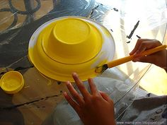 make a straw hat from paper bowl and plate have kids decorate with tissue paper and glue to look like straw hats. Goes with lesson on the painting  The Torn ... & Homemade Easter Hat | Easter Homemade and Bowls