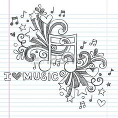 Music Note I Love Music Back to School Sketchy Notebook Doodles- Hand-Drawn Illustration Design Elements on Lined Sketchbook Paper Background  Vector